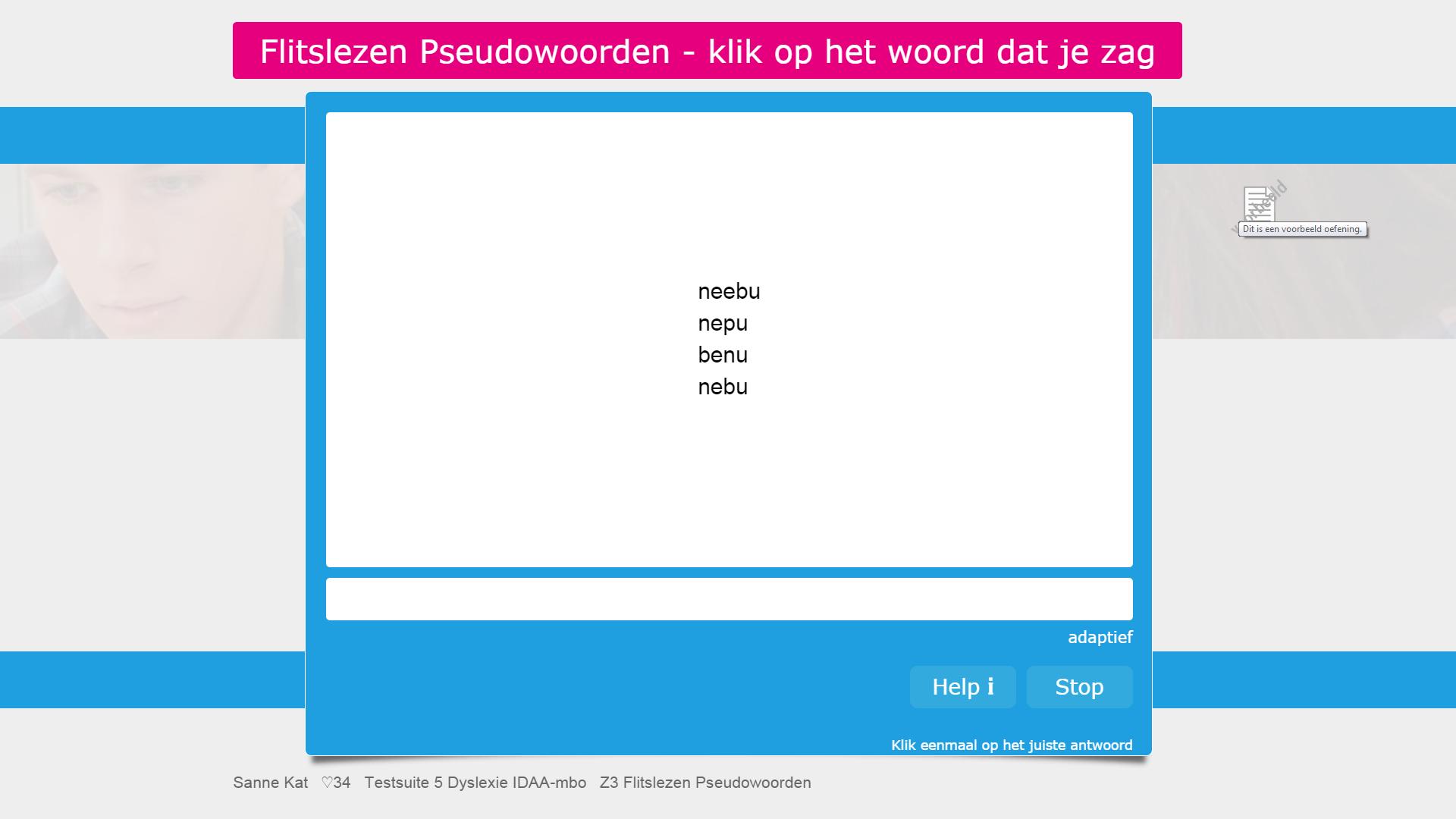 Voorbeeldvraag subtest flitslezen pseudowoorden van de interactieve dyslexietest