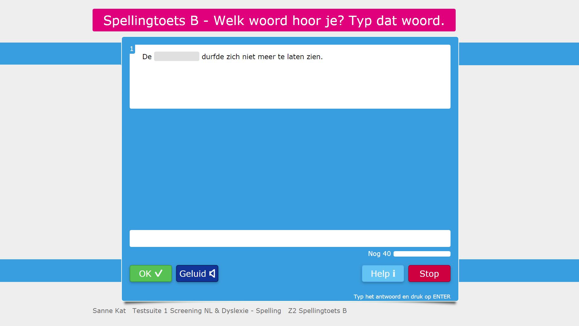Voorbeeld van een opgave uit Testsuite 1 Nederlands & Dyslexie.