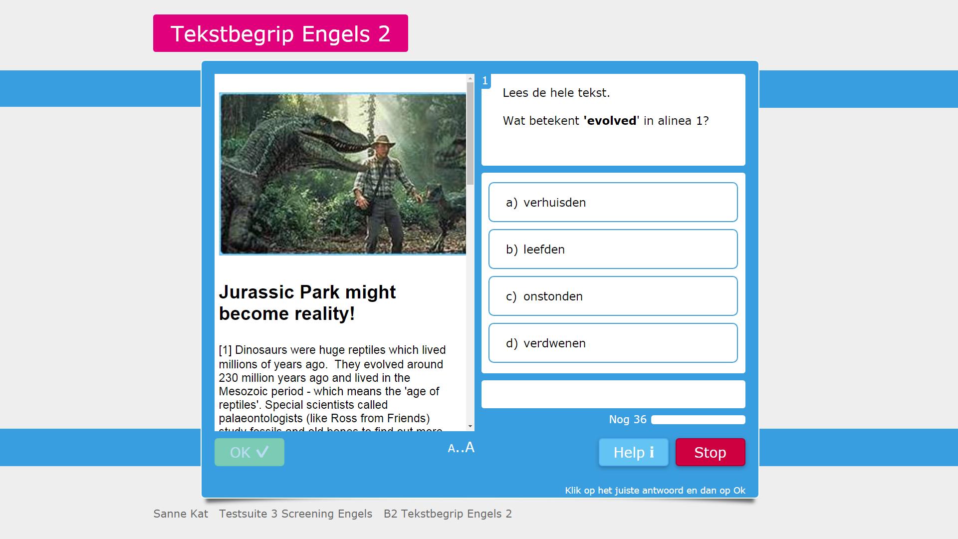 Voorbeeld van een opgave van Testsuite 3 Screening Duits, Engels, Frans.