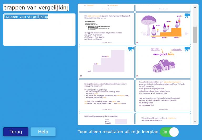 De zoekwereld voor leerlingen in Muiswerk Online.