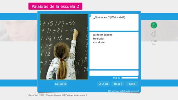 Voorbeeld van een oefening van Muiswerk Woorden Spaans.