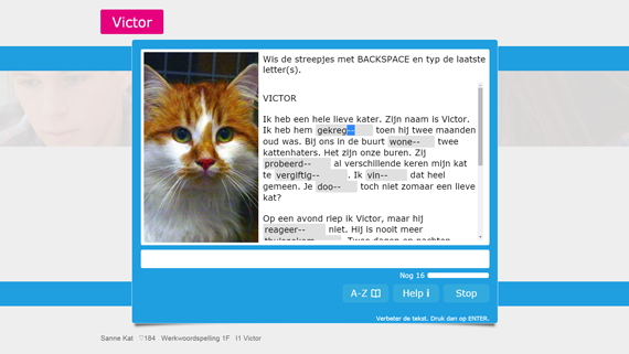 Voorbeeld van een oefening van Muiswerk Werkwoordspelling 1F.