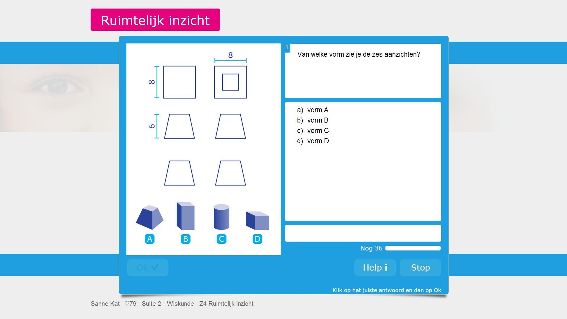 Het startscherm van Testsuite 2 Screening Rekenen & Wiskunde.